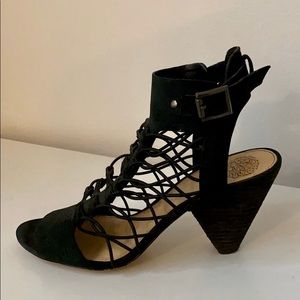 Black Suede Vince Camuto Caged Sandals